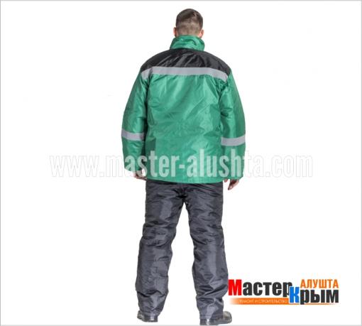Куртка ут. Импульс-Анталексчерн/зел 100% ПЭ рег.по талии